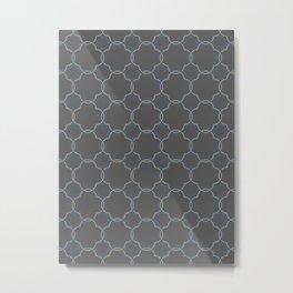 Moroccan Quatrefoil Clover Grey Metal Print