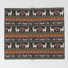 Llama Love Knit Throw Blanket