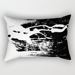 """White Paint Abstract Splat on Black"" Rectangular Pillow"