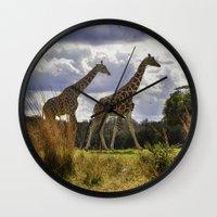 giraffes Wall Clocks featuring Giraffes by Photography by Terrance