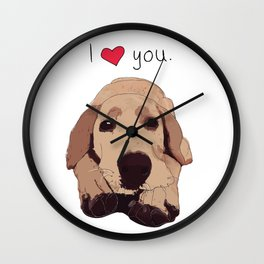 I Love You-Golden Labrador Dog (red heart) Wall Clock