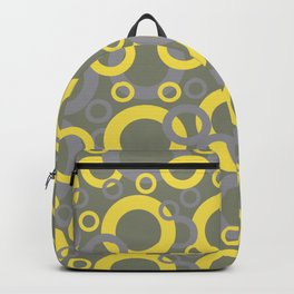 Yellow Grey and Green Circle Pattern Pantone 2021 Color of the Years and Accent Shades Backpack