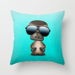 Cool Baby Platypus Wearing Sunglasses Throw Pillow
