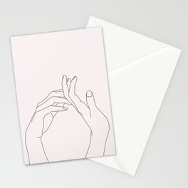 Hands line drawing illustration - Abi Natural Stationery Cards