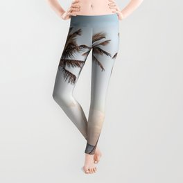 Palmtree Sunset // A Modern Artsy Style Graphic Photography of Palm Leaf Line Sunset View Leggings