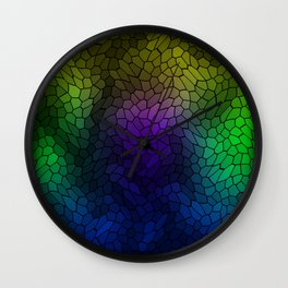 Volumetric texture of pieces of blue glass with a luminous mysterious mosaic. Wall Clock