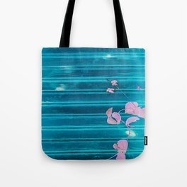 blue wooden wall pink jasmine minimal Tote Bag