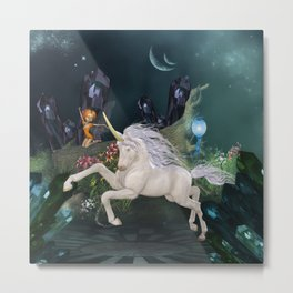 Cute little fairy with wonderful unicorn  Metal Print