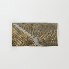 Aerial View of Grand Rapids, Michigan (1868) Hand & Bath Towel
