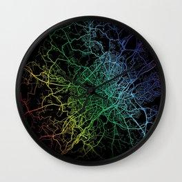 Limoges, France, City, Map, Rainbow, Map, Art, Print Wall Clock