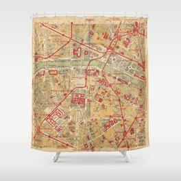 Paris City Centre Map - Vintage Full Color Shower Curtain