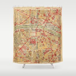 Paris City Centre Map - Vintage Full Color Shower Curtain