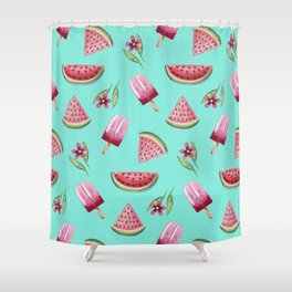 Watermelon ice cream and flowers Shower Curtain
