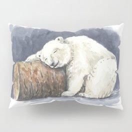 Sleeping polar bear, watercolor art Pillow Sham