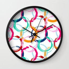 Abstract Black Blue Green Orange Red Circular Art Design Wall Clock
