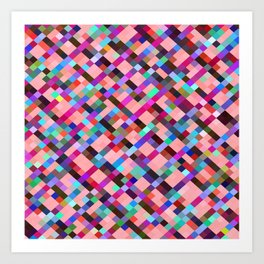 geometric pixel square pattern abstract background in pink purple blue yellow green Art Print