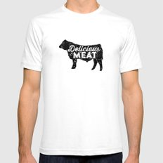 Delicious Meat White Mens Fitted Tee SMALL