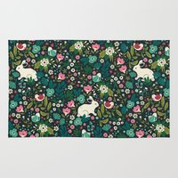 friends Area & Throw Rugs featuring Forest Friends by Anna Deegan