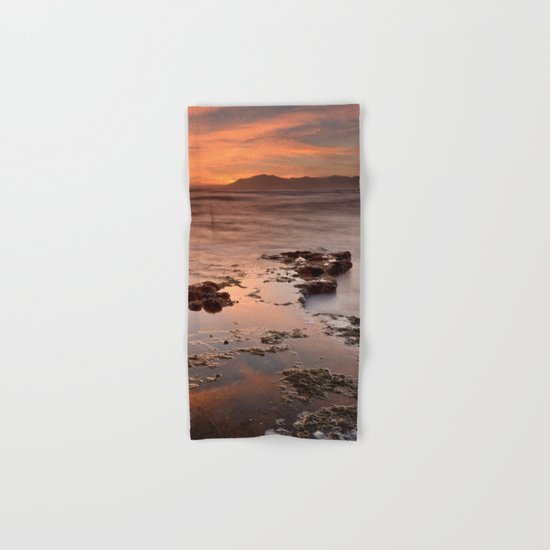 """Last red light"" Sunset at the sea Hand & Bath Towel"