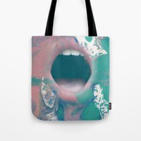 mouth Tote Bags featuring mouth by Bec Scerri