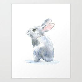 Gray Bunny Rabbit Watercolor Painting Art Print