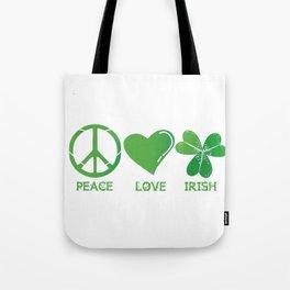 Peace Love Irish St Patrick's Day Tote Bag