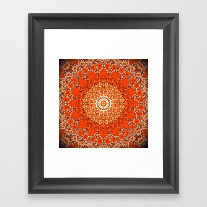 Detailed Orange Boho Mandala Gerahmter Kunstdruck