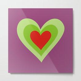 Three hearts on purple Metal Print