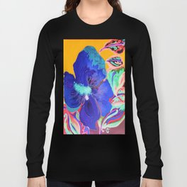 Birthday Acrylic Blue Orange Hibiscus Flower Painting with Red and Green Leaves Long Sleeve T-shirt