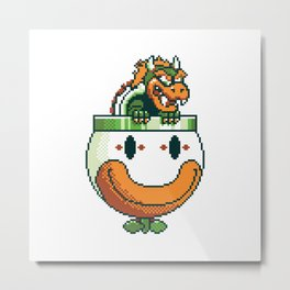Pixelated Super Mario World - Bowser Koopa Clown Car Metal Print