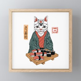 Neko Sushi Bar White Framed Mini Art Print