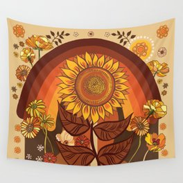 70s, Sunflower, retro, rainbow, warm colors, 60s, boho Wall Tapestry