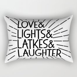 LOVE & LIGHTS & LATKES & LAUGHTER Hanukkah ampersand design Rectangular Pillow
