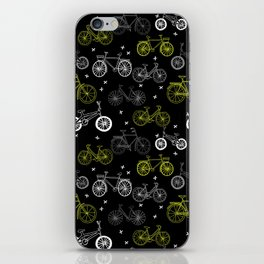 Bicycles cycle pattern black and white by andrea lauren iPhone Skin