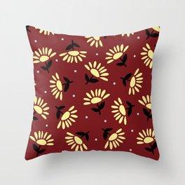 Ethnic flowers Throw Pillow