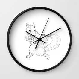 Black And White Squirrels Wall Clock