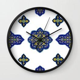 Samarkand blue and yellow ornament Wall Clock