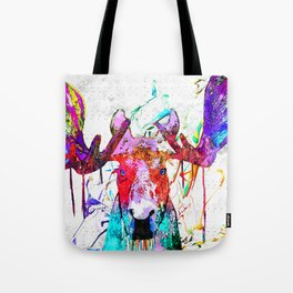 Moose Watercolor Grunge Tote Bag