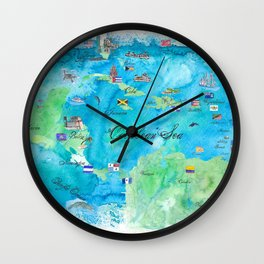 Caribbean Cruise Travel Poster Map Antilles West Indies Cuba Florida Wall Clock