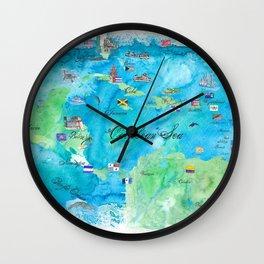 Caribbean Cruise Travel Poster Map Antilles West Indies Cuba Florida Wall Clock