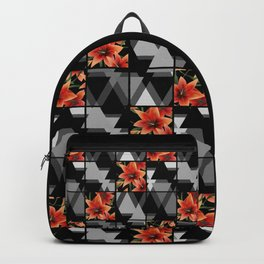 """From the series """" Favorite patchwork """". Lilies on black. Backpack"""