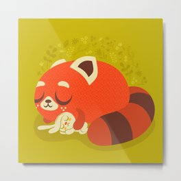 Sleeping Red Panda and Bunny Metal Print