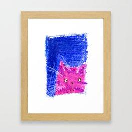 Crayon Cat Framed Art Print