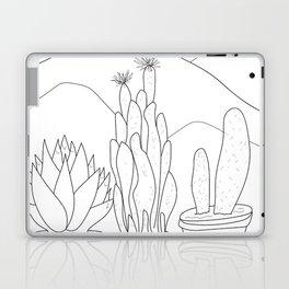 Black and White Cactus and Mountain Minimal Illustration V2 Laptop & iPad Skin