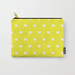 HEARTS ((white on sunshine yellow)) Carry-All Pouch