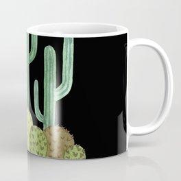Desert Cacti on Black Coffee Mug