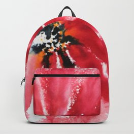 Crimson Red Abstract Flower Watercolor Backpack