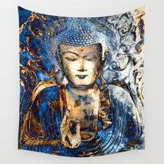 Inner Guidance - Blue Buddha Zen Art Wall Tapestry