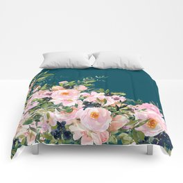 Floral Watercolor Roses, Teal and Pink, Vintage Comforters