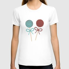 seamless pattern Colorful Sweet Cake pops set with bow on white polka dot background T-shirt